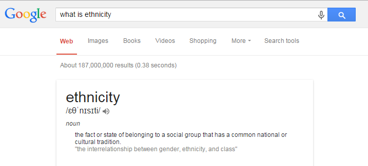google definition of ethnicity