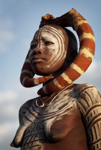mursi woman WITHOUT lip plate!