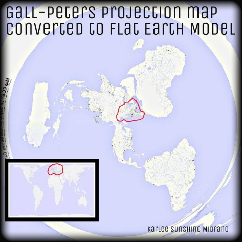 Gall-Peters projection map (round & flat models, europe highlighted in red)