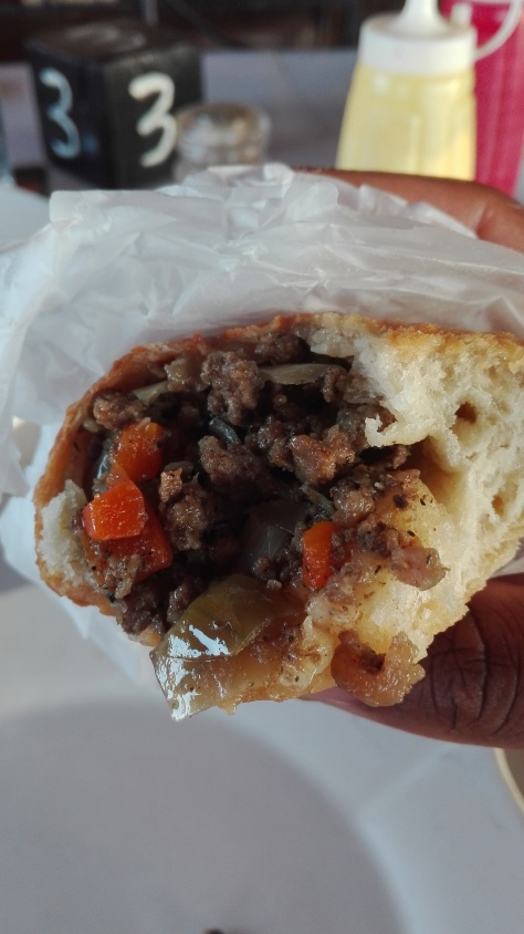 inside Gambian meat pie!
